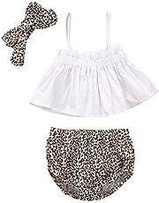 Camidy 3pcs Toddler Girl Suit Strap Top Leopard Print Shorts + Headband Set 0-24 Months