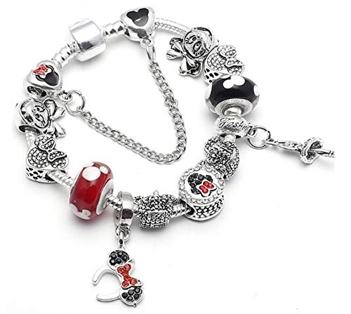 AURELLA Mickey Minnie Charm Bracelet with Nice Marano Beads Fit Original Bracelet for Kids ift (А 7 + 21 cm) -