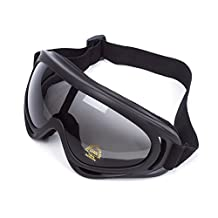Universal Adjustable UV Protective Safety Sports Outdoor Glasses Wind Dust Protection Motorcycle Goggles Skiing & Tactical Glasses Military Sunglasses to Prevent Particulates (Black & Grey Lens)