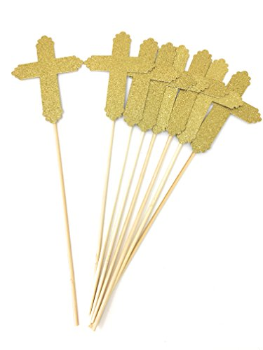 8 Pack Gold Glitter Cross Centerpiece Sticks for Baptism Funeral First Communion Floral Picks (Gold, 8)