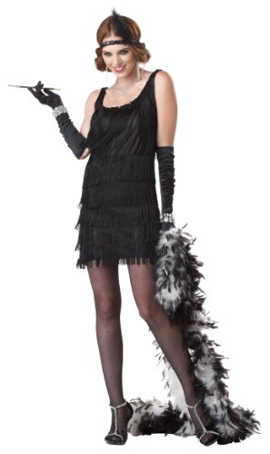 California Costumes Women's Fashion Flapper Costume,Black,Large -