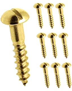 Solid Brass Round Head Slotted Woodscrew ~ All Gauges