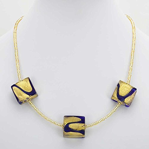 GlassOfVenice Murano Glass Royal Blue Squares Necklace