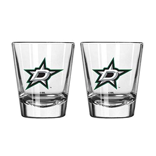 NHL Dallas Stars Satin Etch Shot Glass, 2-ounce, 2-Pack (Fan Glass Sports Shot)