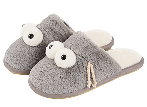 Cattior Mujeres Soft Fleece Funny Slippers Fluffy Zapatillas Gris