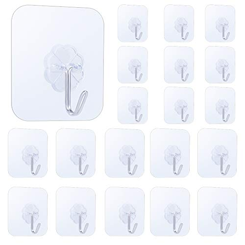 LuckIn 20pcs Self Adhesive Wall Hooks, 15lbs Damage Free Hanging Sticky Hook for Tile Wall, Flower-Shaped Clear Hook Clothes Holder, HK0020P