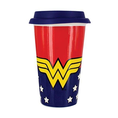 Paladone Wonder Woman Travel Mug-Ceramic Travel Mug - Officially Licensed Product 12oz