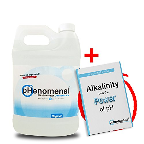 pHenomenal Alkaline Water Concentrate One Gallon - 11+pH When Mixed With Water - Regular Tasteless - Highest pH on the Market - Makes 32 Gallons of Alkaline Water - Binds & Eliminates Acidity by pHenomenal Water