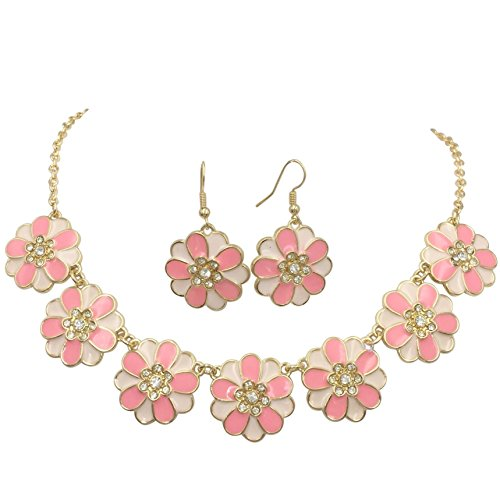 7 Daisy Flower with Rhinestones Cluster Gold Tone Boutique Statement Necklace & Earrings Set (Pink Tones)