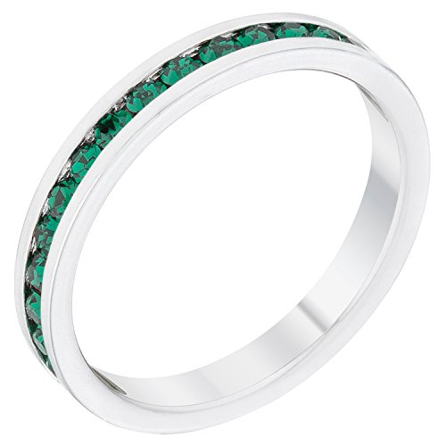 Emerald May Birthstone Ring - Stylish Birthstone Stackables Swarovski Crystal By Kate Bissett Emerald -May Size 9