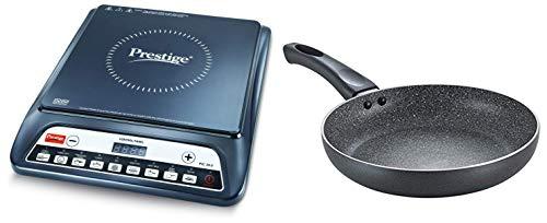 Prestige PIC 20 1200 Watt Induction Cooktop with Push Button (Black) + Prestige Omega Deluxe Granite Fry Pan, 240mm, Black (36305)