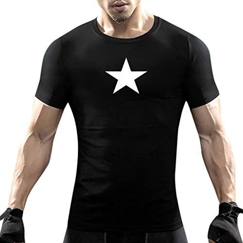 - POHOK Men Tops O-Neck Fashion Men Casual Summer Star Print Short Sleeve T-Shirts Blouse (XL,Black