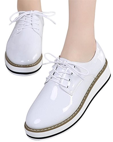 Oxford Shoes for Women,SATUKI Casual Platform Lace Up Wedges Heel Dress Shoe White