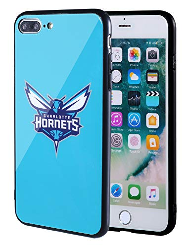 The Mass iPhone 8 Plus case, iPhone 7 Plus case, NBA Team Logo on Tempered Glass Back Cover and Soft TPU Frame for iPhone 8 Plus/7 Plus (Charlotte Hornets)