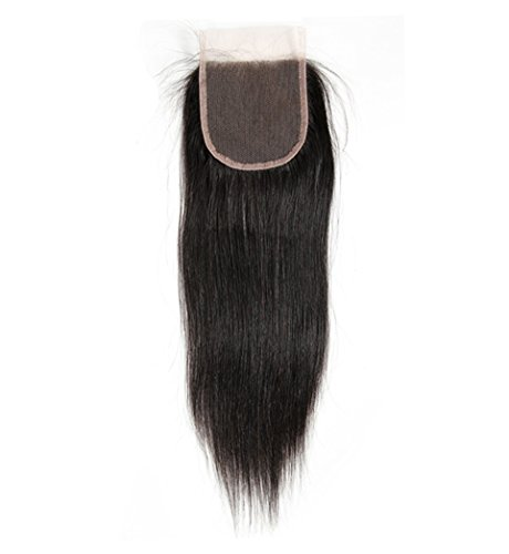 Beauty : VGTE Hair 4x4 Brazilian Lace Closure Straight Unprocessed Human Hair Top Closure Bleached Knots Natural Hairline with Baby Hair Free Part Closure¡ê¡§16inch¡ê?