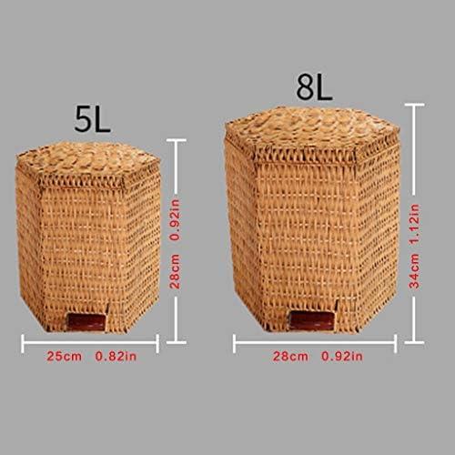 キッチンゴミ箱 天然植物ラタン手織りペーパーバスケットフットペダルタイプゴミ箱ふた5L8Lと ごみ収集 (サイズ : 8L)