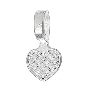 Rockin Beads Brand, 200 Glue on Heart Bails Pendant Hanger Silver Plated 16x8mm