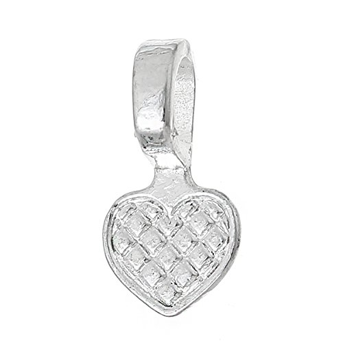 Heart Bail Pendant (Rockin Beads Brand, 200 Glue on Heart Bails Pendant Hanger Silver Plated 16x8mm)