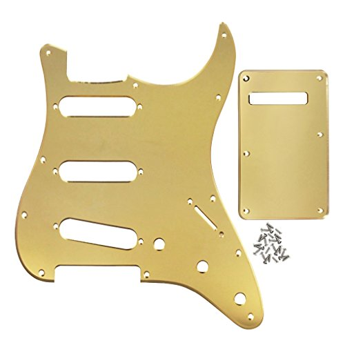 Shielding Single Coil Pickups - IKN 1Ply Golden Mirror SSS 11 Holes Strat Pickguard and Back Plate Set with Screws for Fender Strat Modern Style Guitar Parts-3 Single Coil Pickups Style