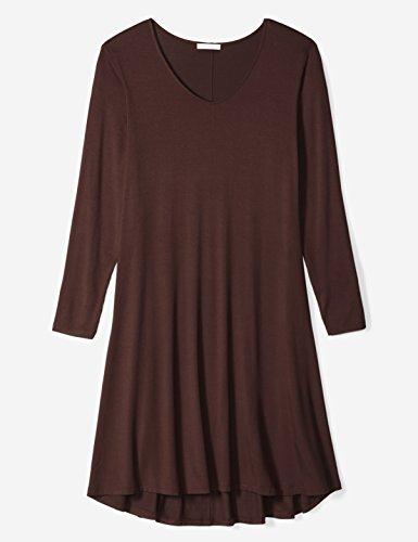 Femmes Rituel Quotidien De Plus Les Jersey Taille Manches Longues Robe V-cou Brun Chocolat