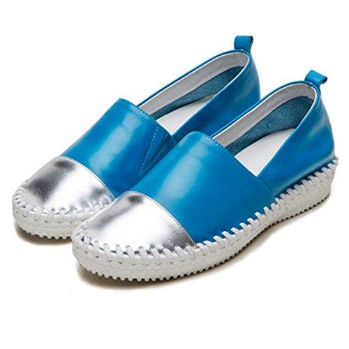 COOLCEPT Flach Pumps Runde Zehe Gemütlich Leder Casual Schuhen Blau