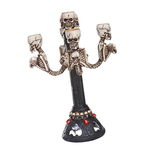 Skull Candelabra Halloween Decorative Lamp Table Centrepiece /5-arm Candle Stick Holder -