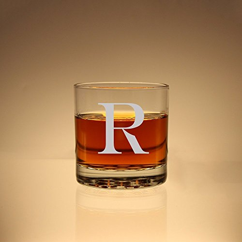 (Engraved Whiskey Glass, Personalized Scotch Glass, Customized Old Fashioned Glasses, Etched Bourbon Glass, Initial Engra)