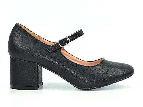 Chase & Chloe Brandi-1 Women's Chunky Block Heel with Mary Jane Strap Dress Pump Shoes (7, Black PU)