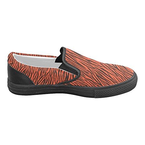 D-story Custom Strisce Zebra Arancione Scarpe Da Donna Insolite Slip On Canvas (modello 019)