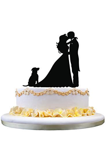 Couple(bride and groom) kissing cake topper,dog cake topper,pet wedding cake