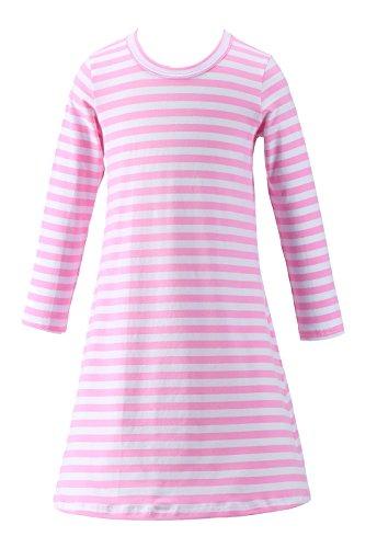 Happy Rose Girls Dress Pink Strips T Shirt 6 (5 Old Rose)