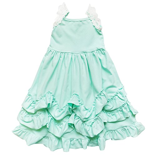 So Sydney Toddler Girls Flutter Short Sleeve Or Lace Tank Cascading Ruffle Dress (XS (2T), Mint Ruffles)
