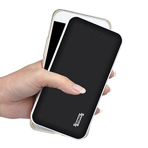 Tonv Potable Power Bank 10000mah Support Quick Charger 3.0 Slim Design for Type C Smartphones and MP3 Player and more (Black)