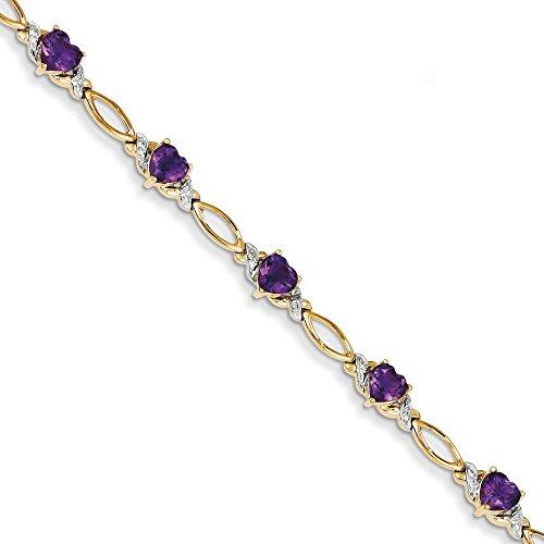 14 carats avec améthyste et diamants bruts 18 cm - 5 mm-Fermoir mousqueton-JewelryWeb