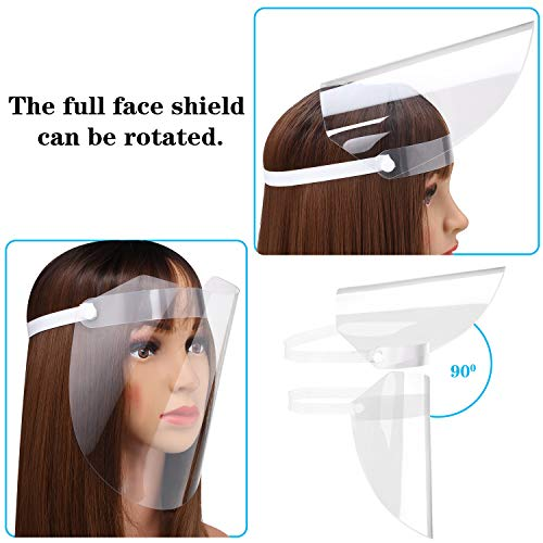 8 Pieces Full Face Safety Shield Transparent Protective Shield Wind Proof Anti Oil Protect Face and Eyes with Protective Film Elastic Band (Tear Protective Film Before Use)