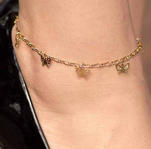 Lifetime Jewelry 24k Gold Plated Butterfly Ankle Bracelet to Wear at Party or Beach for Women and Teen Girls - Cute Durable Anklet - 9 10 and 11 inches - Made in USA (11.0) by Lifetime Jewelry (Image #2)