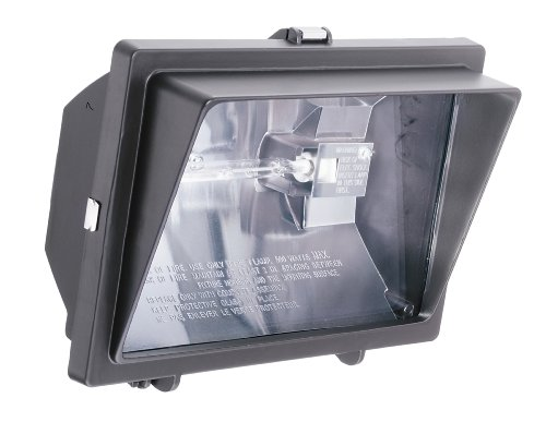 Lithonia Lighting OFL 300/500Q 120 LP BZ M6 Light Visor Flood Light with One 300-Watt and One 500-Watt Quartz Halogen Double-Ended Lamps, Black Bronze