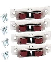 MroMax 15.8mm Width Nylon Double Wheel Pulley,Sliding Door Window Pulley Double Wheel, Stainless Steel Shell Silver 4Pcs