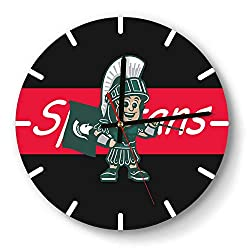 Wall Clock Modern Michigan-State-Spartans-Basketball-Red- Style Silent Digital Clock for Living Room