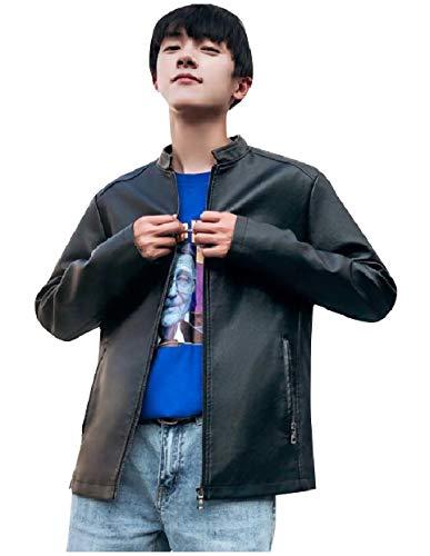 Pockets Size Zipper RkBaoye Black Men Fall with Leather Jackets PU Winter Plus OxfU7FnUZq