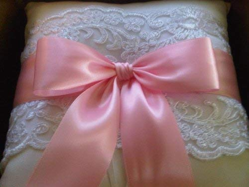 RaeBella Weddings & Events New York Beverly Clark White Lace Ring Pillow with Satin Petal Pink Ribbon 223B ()