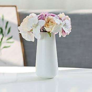 D'vine Dev 8 Inch Matte White Ceramic Flower Vases - Home Decor and Table Centerpieces Vase - Gift Box Packaged
