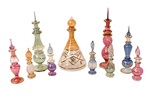 CraftsOfEgypt Egyptian Perfume Bottles Mix Collection a Set of 10 Hand Blown Decorative Pyrex Glass Vials