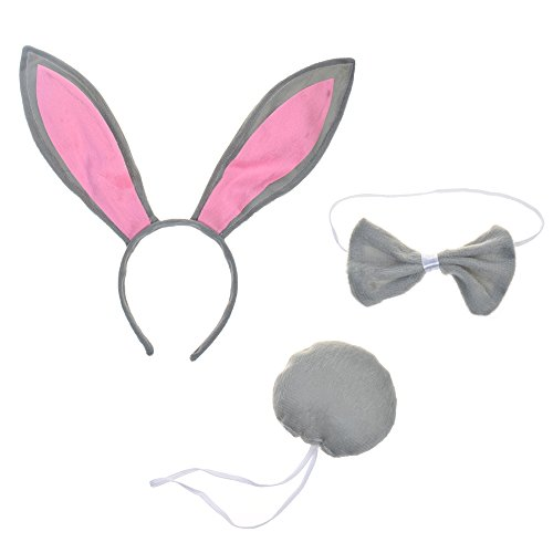 BCP Animals Bunny Rabbit Ears Tail and Bow Tie Cosplay Party Halloween Costume kit Gray -