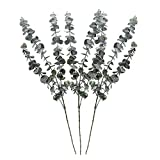Geboor Pack of 3 Faux Eucalyptus Stem Artificial Eucalyptus Leaves Fake Eucalyptus Branches 30'' Tall Artificial Greenery Stems for Restaurants Hotels Home Decorations
