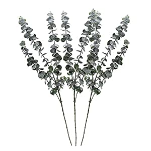 Geboor Pack of 3 Faux Eucalyptus Stem Artificial Eucalyptus Leaves Fake Eucalyptus Branches 30″ Tall Artificial Greenery Stems for Restaurants Hotels Home Decorations