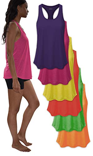 Women's Everyday Flowy Burnout Slub Racer Back Active Workout Tank Tops- 6 Pack (6 Pack-NEON-Yellow/Green/Orange/RED/Pink/Purple, X-Large)