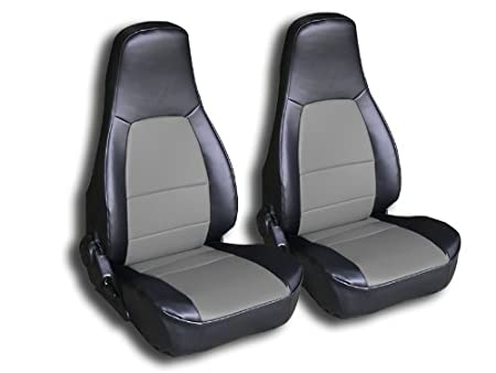 Iggee 1990-2000 Mazda Miata Black//Charcoal Artificial Leather Custom fit Front seat Cover