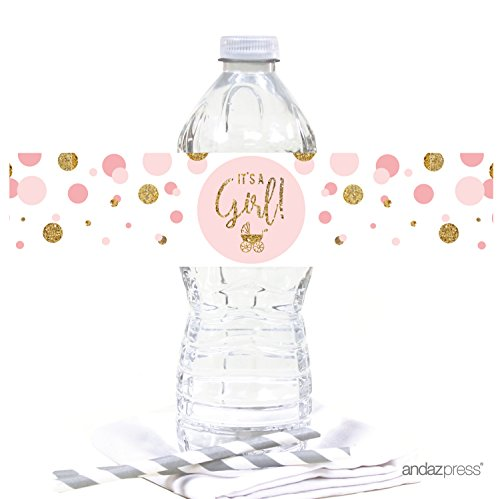 Andaz Press Blush Pink Gold Glitter Girl Baby Shower Party Collection, Water Bottle Label Stickers, -