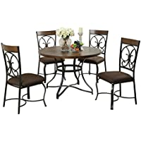 ACME Jassi Dark Cherry and Antique Black Dining Set 5 Piece